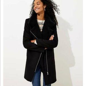 LOFT Fleece Trim Long Line Moto Coat in Black